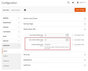 Change Magento 2 Admin URL through config