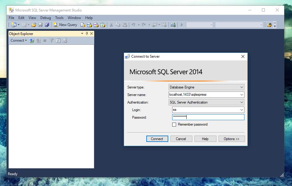 docker-ms-msql-sql-server-management-studion