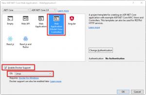 .NET Core Web App Docker - Enable docker support