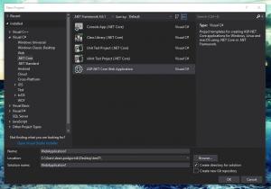 .NET core web app Docker create solution